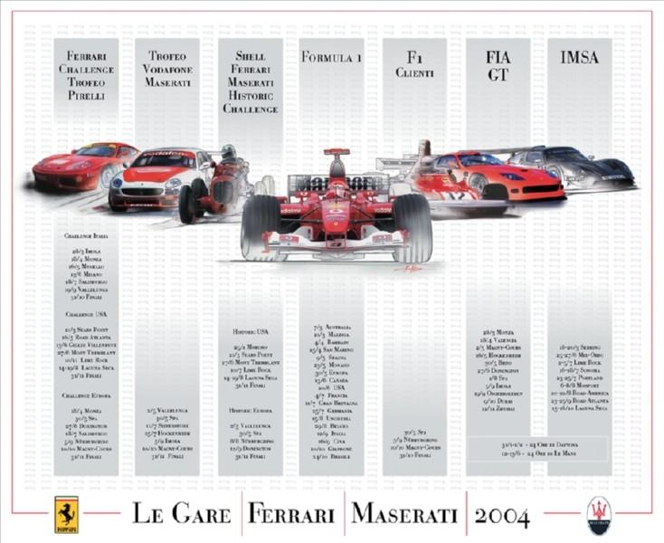 Poster Calendario gare Ferrari - 2004
