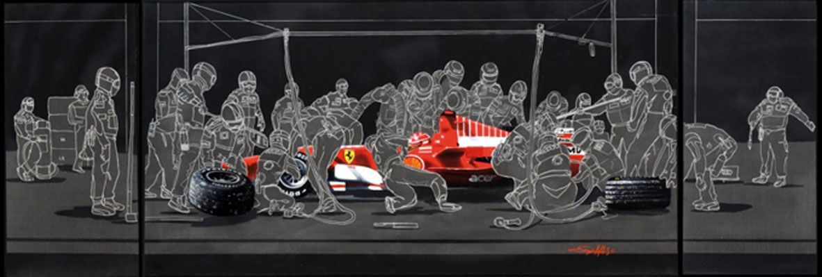 Schumacher Pit Stop - 2008 - 60x140cm - Author's collection